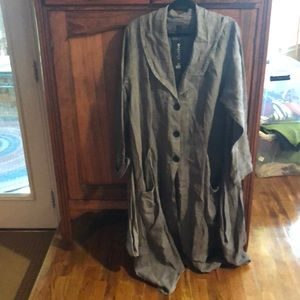 Gray designer tunic with lots of fabulous sewing